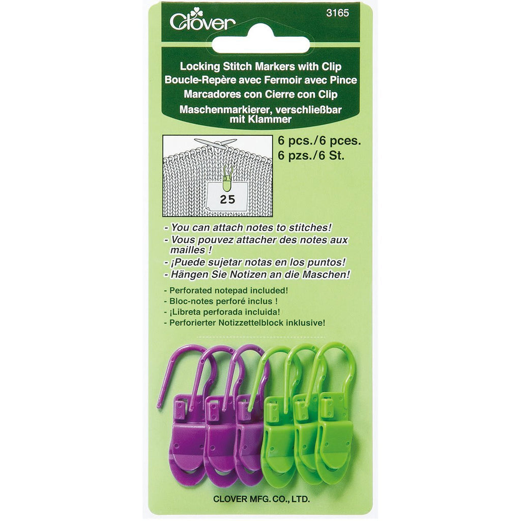 Clover Locking Stitch Markers with Clip Art No. 3165