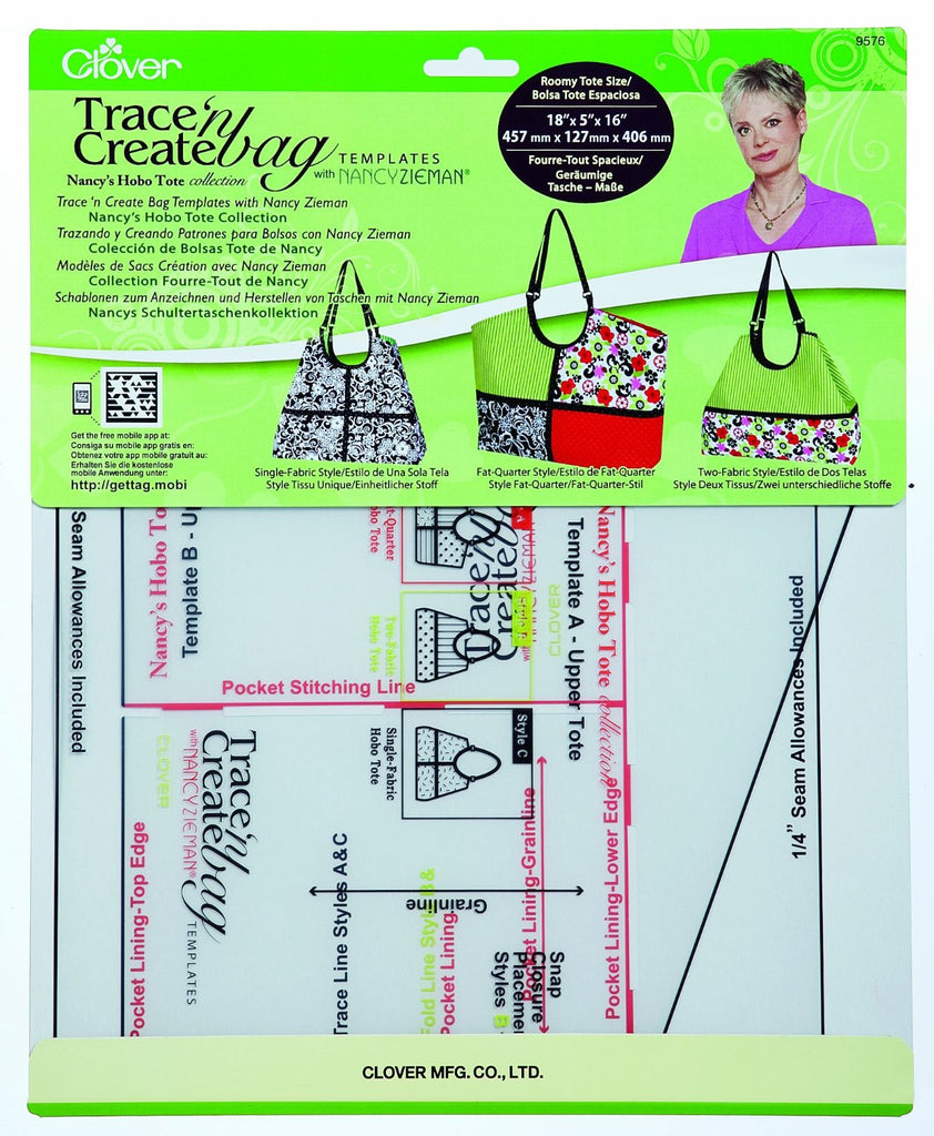 Clover Trace `n Create Bag Templates Art No. 9576 (Nancy's Hobo Tote Collection)