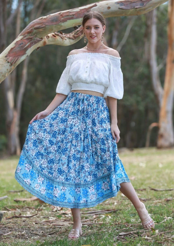 Amina Curved Maxi Skirt in Retro Blues