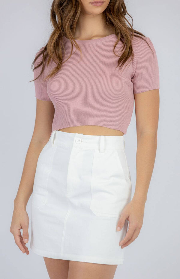 Anabelle Short Sleeve Top in Rose
