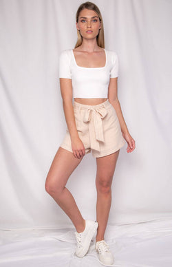 Astrid Short Sleeve Top in White
