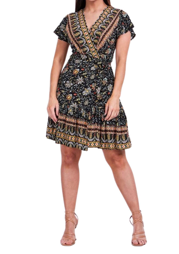 Beatrice Short Wrap Dress in Black Print  Frangipani Living frangipani-living2.myshopify.com