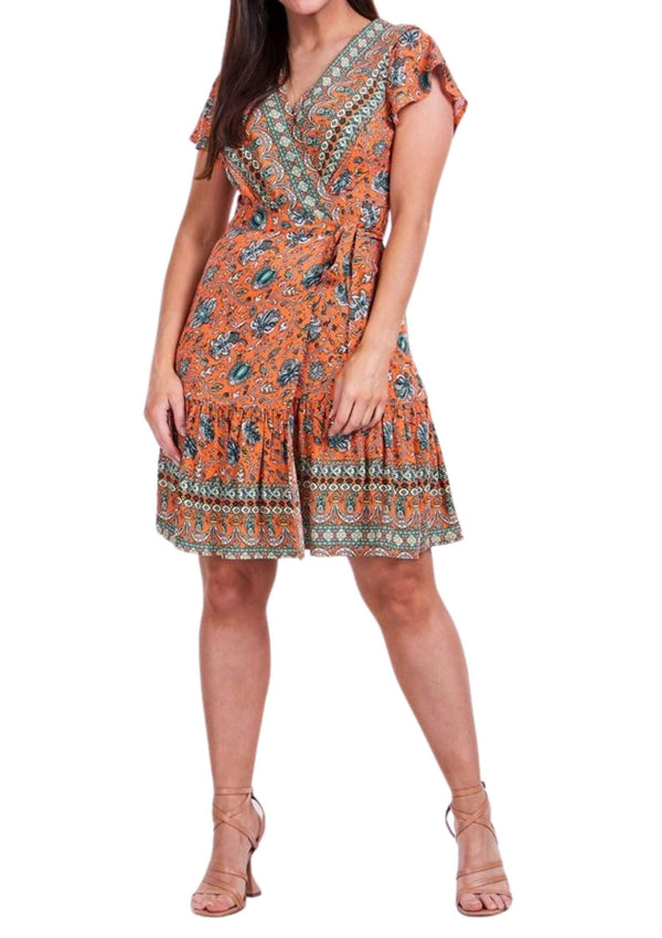 Beatrice Short Wrap Dress in Tangerine Print  Frangipani Living frangipani-living2.myshopify.com
