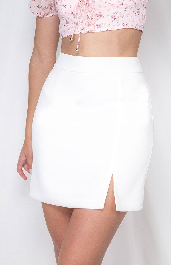 Betty Short White Skirt with Front Split  Frangipani Living frangipani-living2.myshopify.com