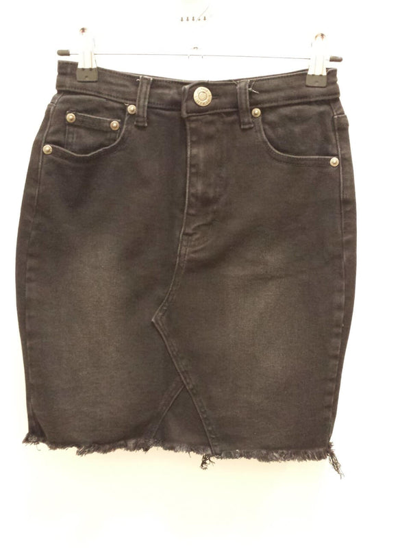 Short Denim Skirt with Fringe Hem in Matt Black Wash