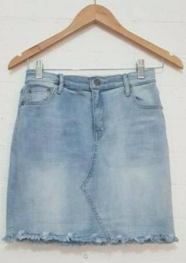 Short Denim Skirt with Frayed Hem in Blue  Frangipani Living frangipani-living2.myshopify.com