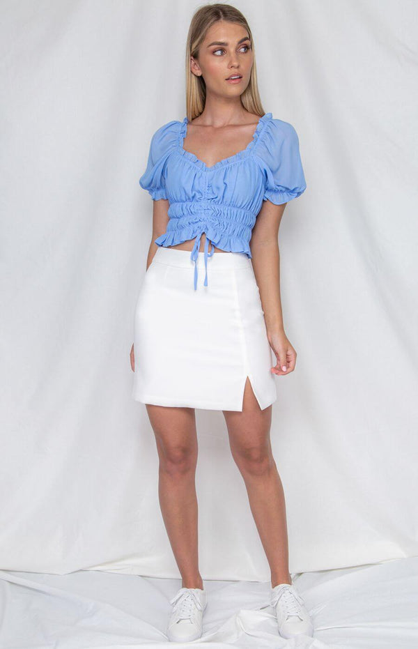 Bonnie Gathered Front Crop Top in Blue