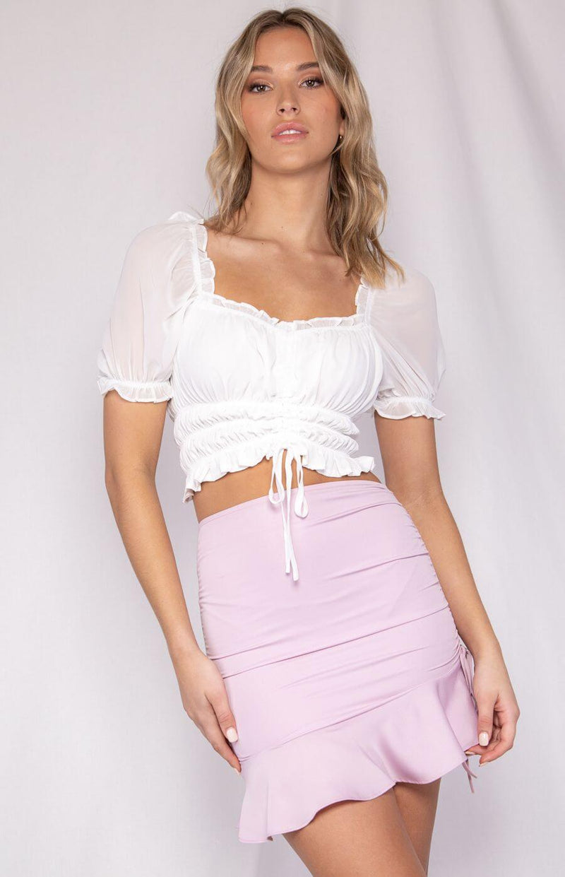 Bonnie gathered front crop top in white  Frangipani Living frangipani-living2.myshopify.com