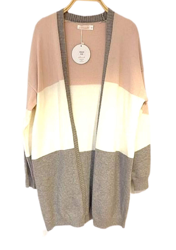 Bristol Colour Block Cardigan in Grey & Blush  Frangipani Living frangipani-living2.myshopify.com