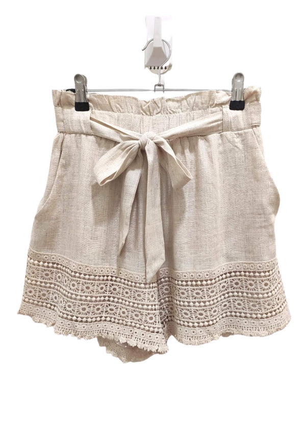 Byron Linen Blend Lace Trim Shorts in Natural Beige