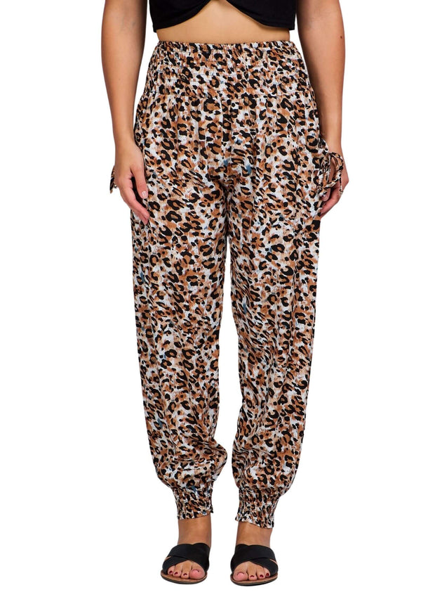 Cali Relaxed Fit Pants in Animal Print Peach