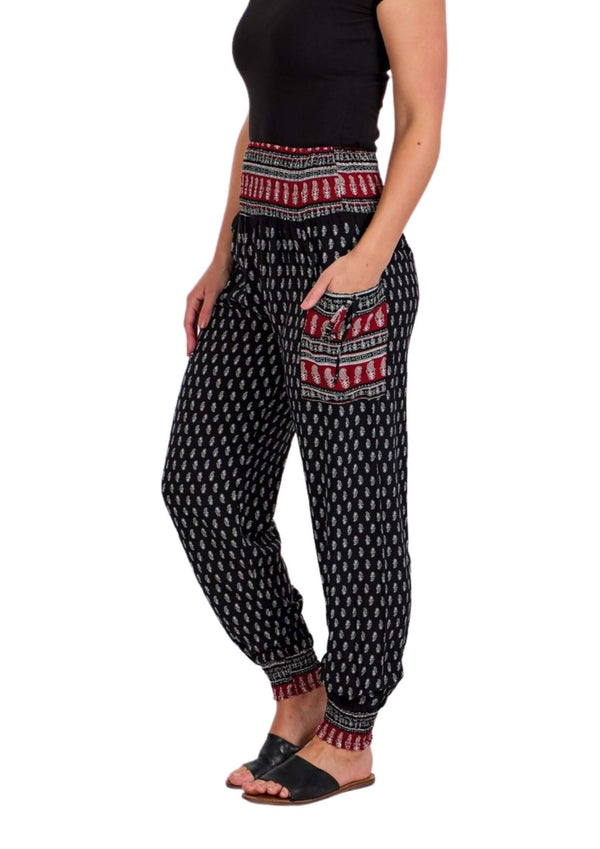 Cali Relaxed Fit Pants in Black Print  Frangipani Living frangipani-living2.myshopify.com