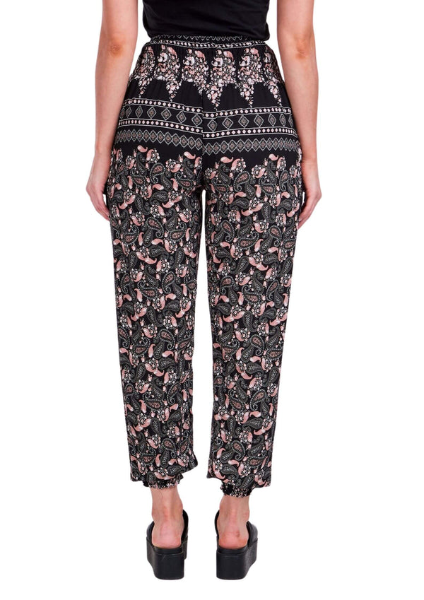 Cali Relaxed Fit Pants in Black and Blush Print