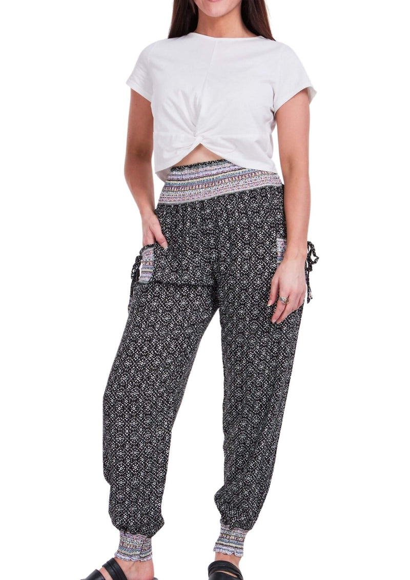 Cali Relaxed Fit Pants in Black and White Print