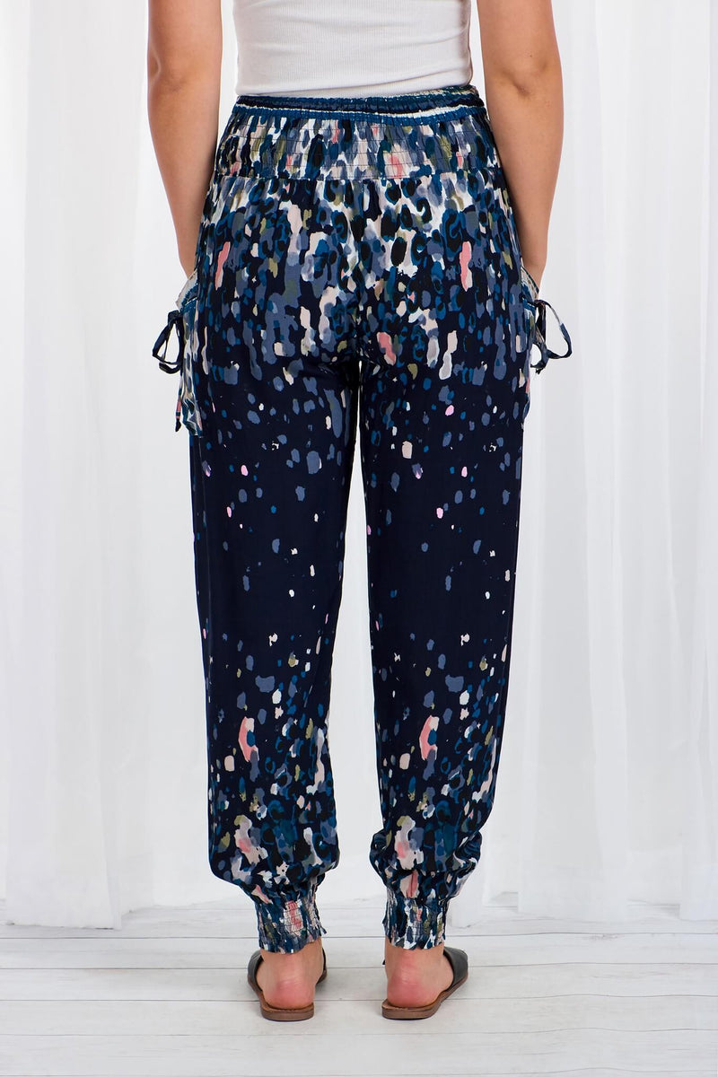 Cali Relaxed Fit Pants in Navy Watercolour  Frangipani Living frangipani-living2.myshopify.com