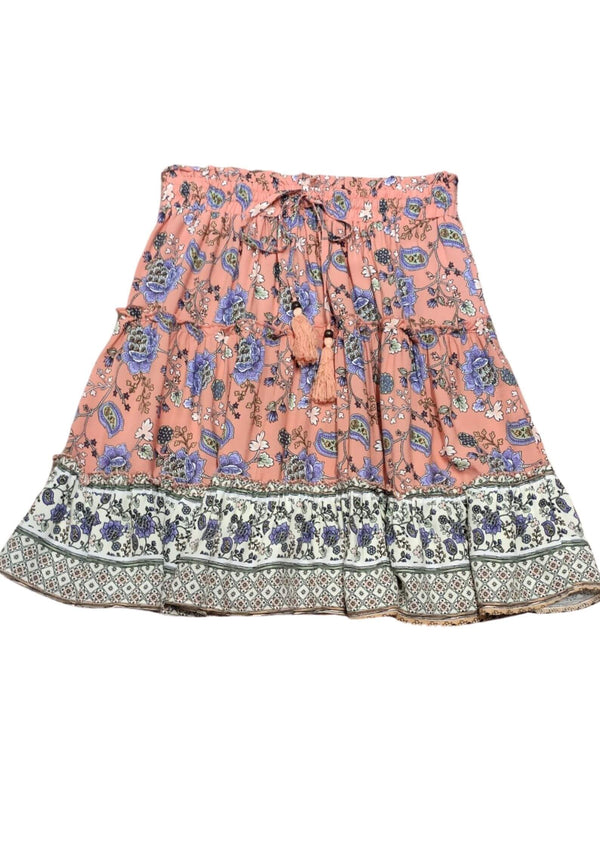 Calypso Boho Short Skirt in Cherry Pink