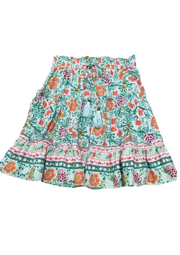 Calypso Boho Short Skirt in Mint