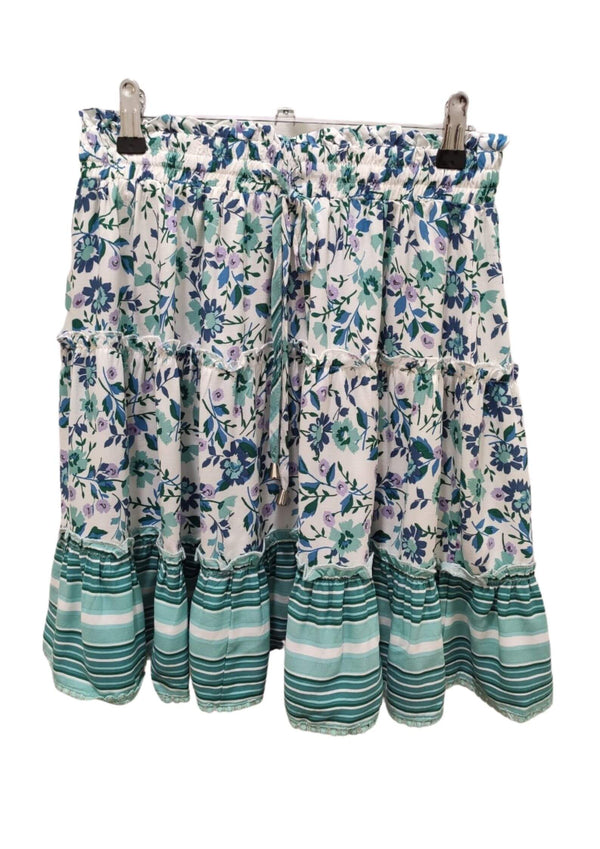 Calypso Boho short skirt in blue green  Frangipani Living frangipani-living2.myshopify.com