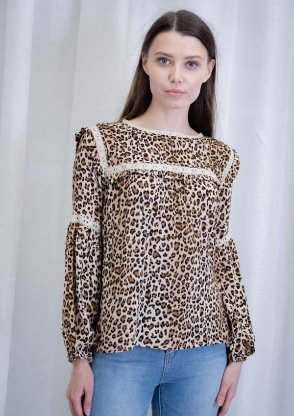 Caroline Blouse Top in Animal Print