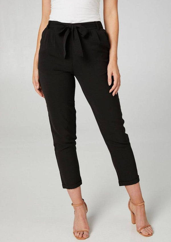 Carrie Cropped Dress Pant in Black
