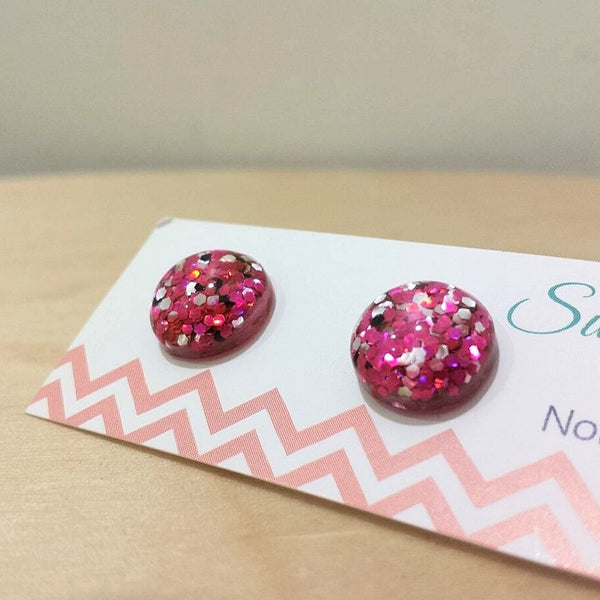 Chunky Glitter Resin Dots in Fuchsia Pink and Silver  Frangipani Living frangipani-living2.myshopify.com