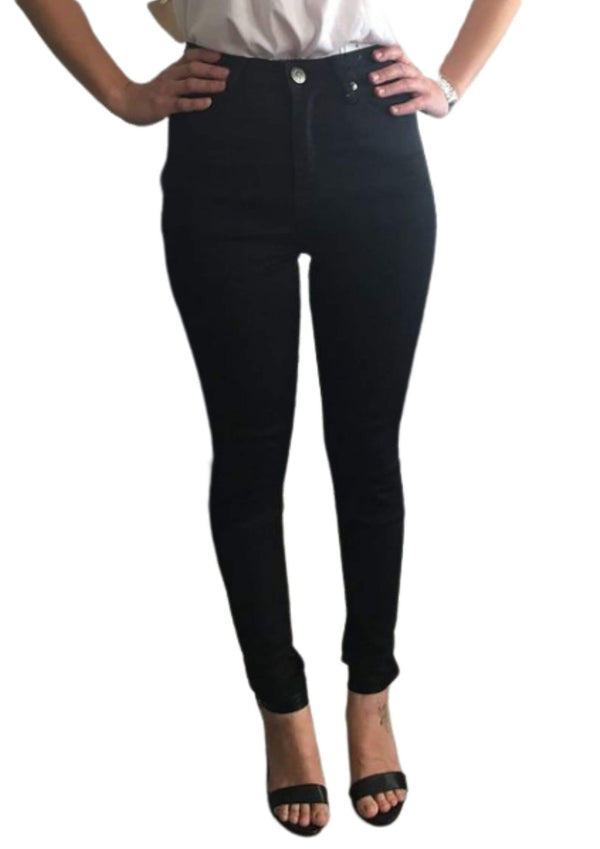 High Waisted Super Comfort Skinny Jeans in Black