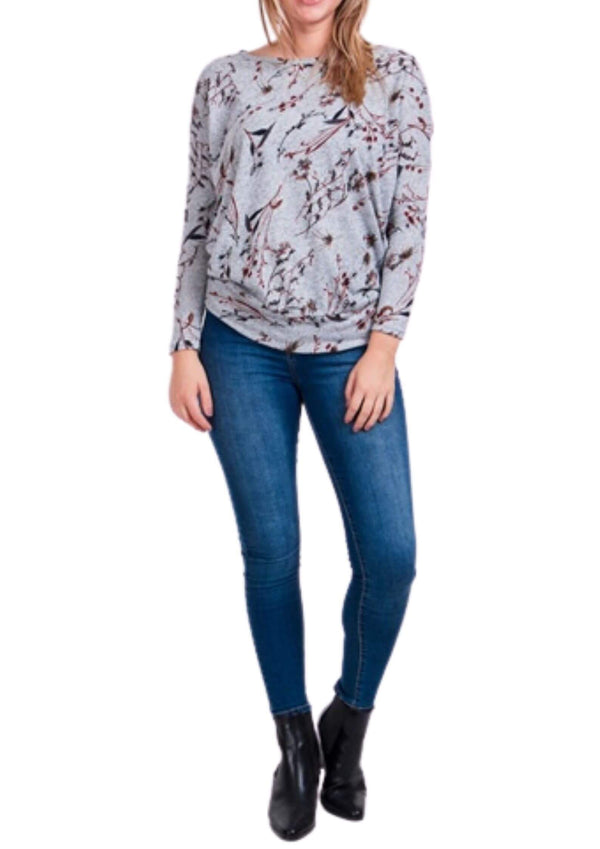 Coraline Long Sleeve Top in Grey Floral Print  Frangipani Living frangipani-living2.myshopify.com
