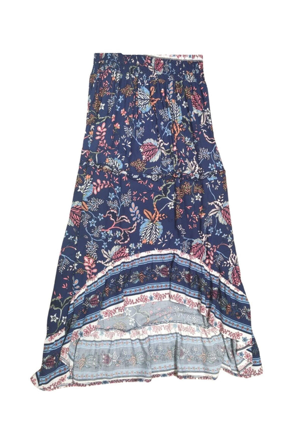 Dakota Boho Hi Low Maxi Skirt in Navy  Frangipani Living frangipani-living2.myshopify.com