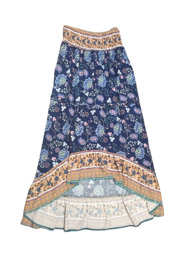 Dakota Boho Hi Low Maxi Skirt in Navy and Peach  Frangipani Living frangipani-living2.myshopify.com