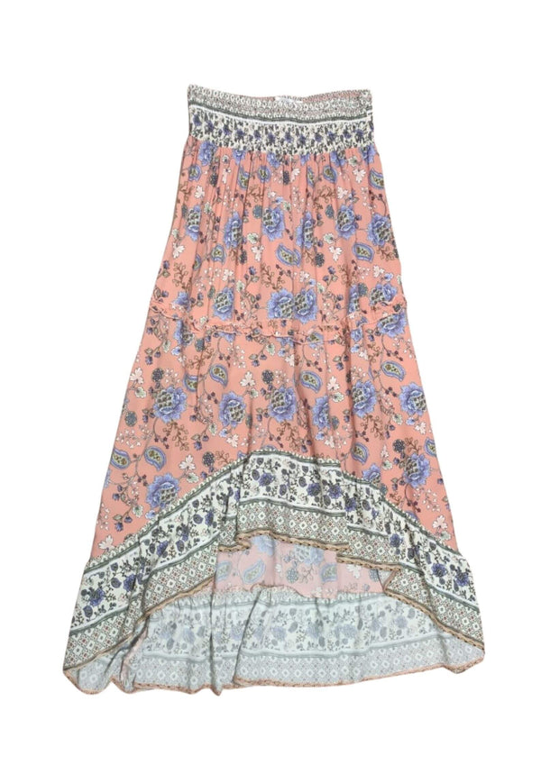 Dakota Boho Hi Low Maxi Skirt in Pink  Frangipani Living frangipani-living2.myshopify.com