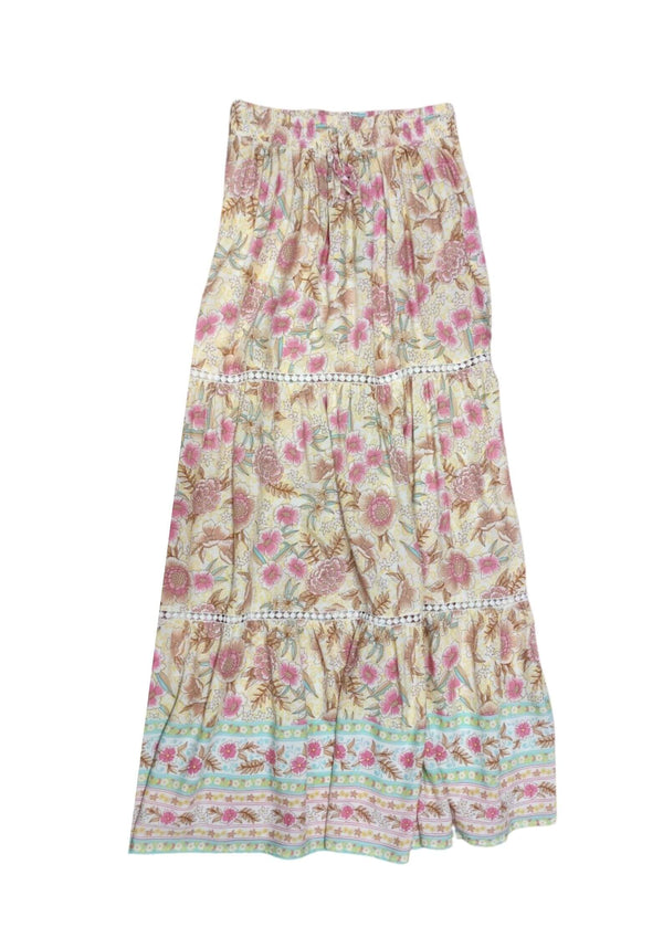 Danii Boho Maxi Skirt in Butter and Blush  Frangipani Living frangipani-living2.myshopify.com