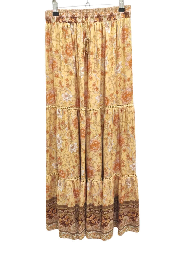 Daybreak Boho Maxi Skirt in Mustard