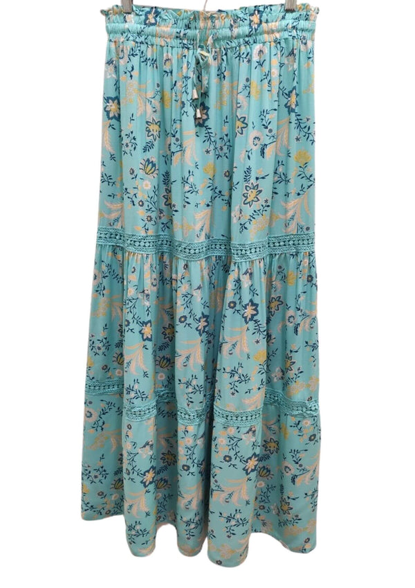 Dayna Boho Maxi Skirt in Turquoise Floral Print