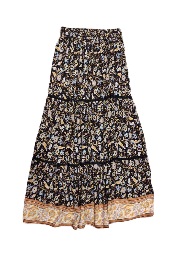 Demi Boho Maxi Skirt In Black Print