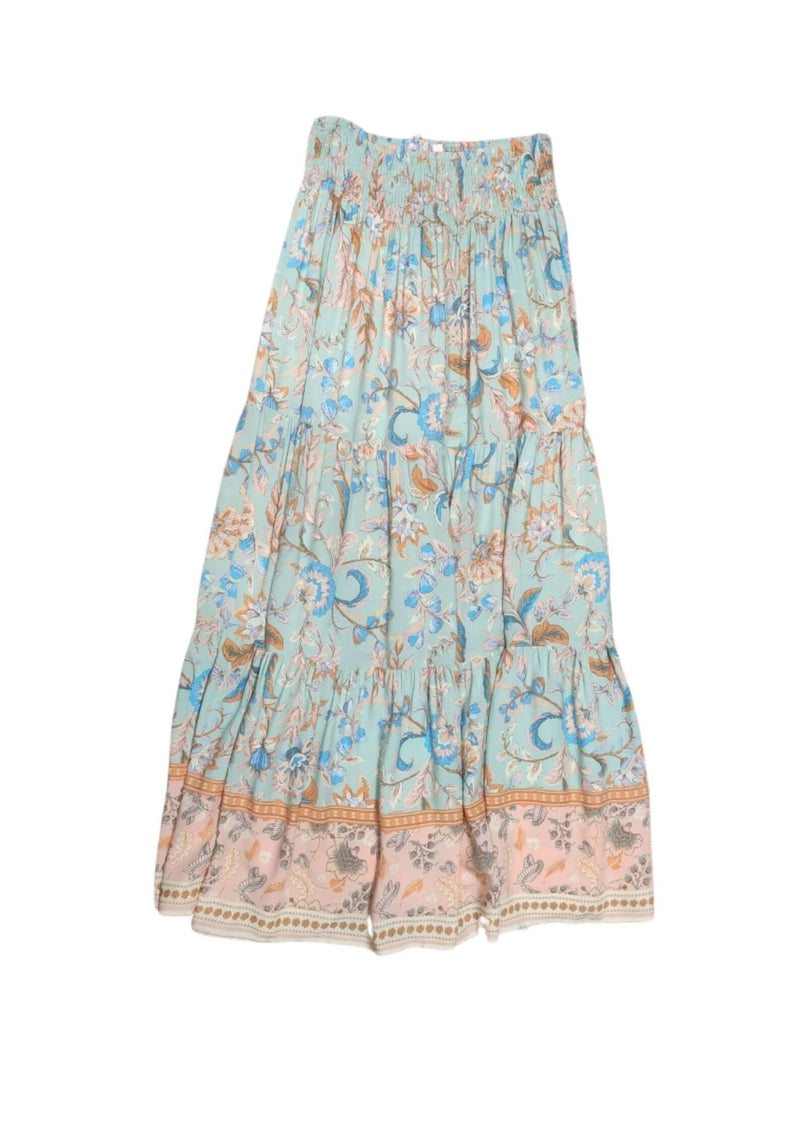 Diaz Boho Maxi Skirt in Mint