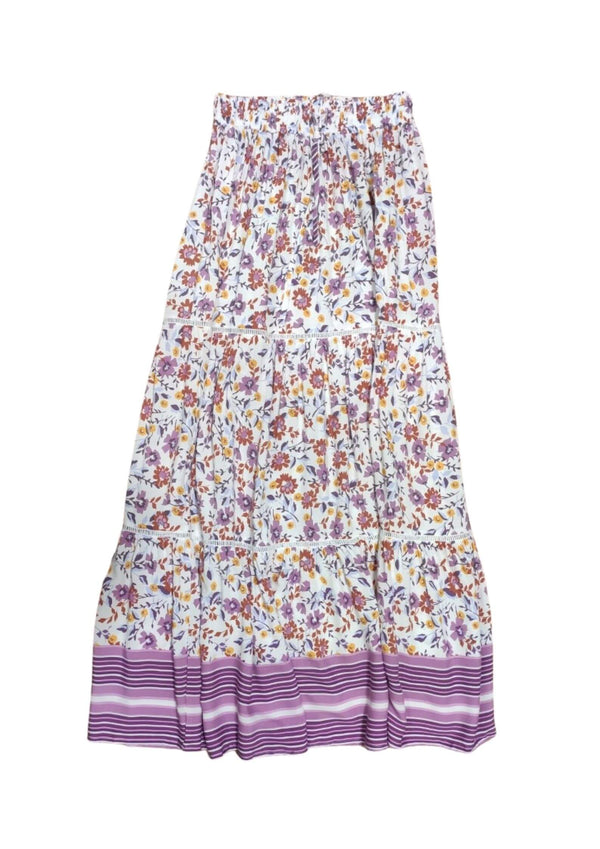 Drew Boho Maxi Skirt in Lilac