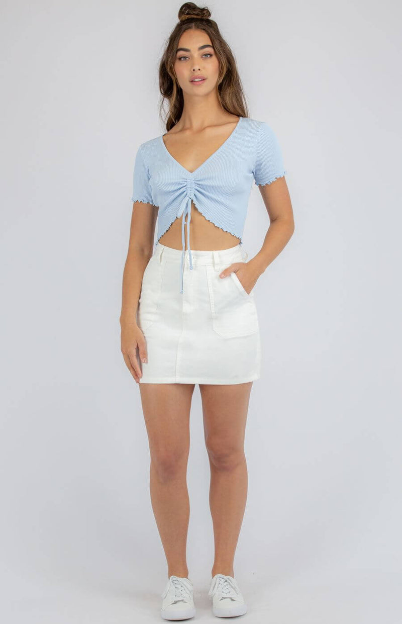 Haven Gathered Front Crop Top in Blue