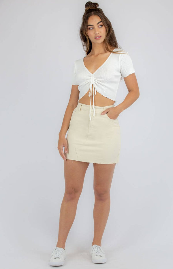 Haven Gathered Front Crop Top in White