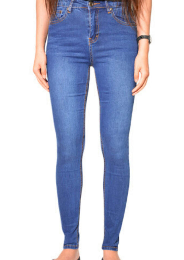 High Waisted Denim Skinny Jeans in Classic Blue  Frangipani Living frangipani-living2.myshopify.com