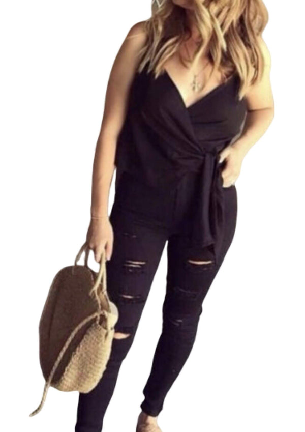 High Waisted Ripped Denim Skinny Jeans in Black  Frangipani Living frangipani-living2.myshopify.com