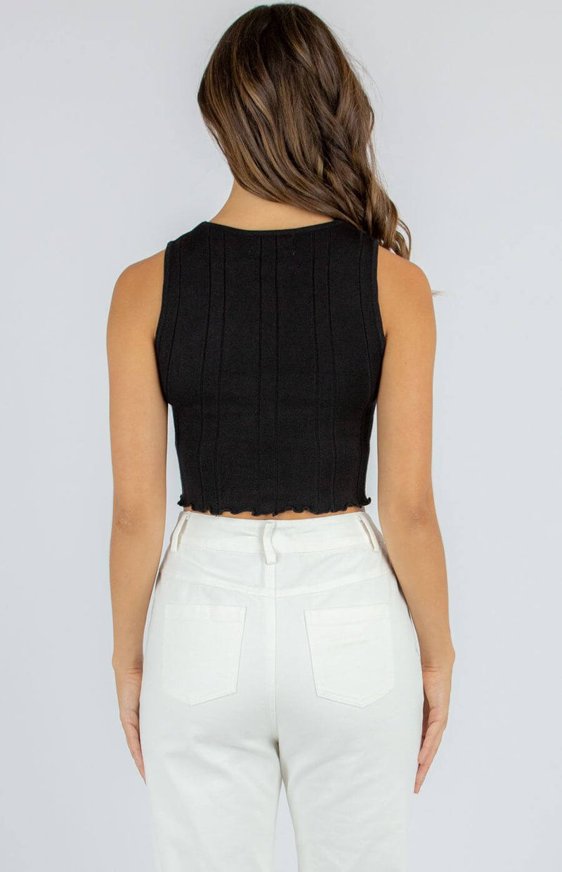 Kara Sleeveless Crop Top in Black