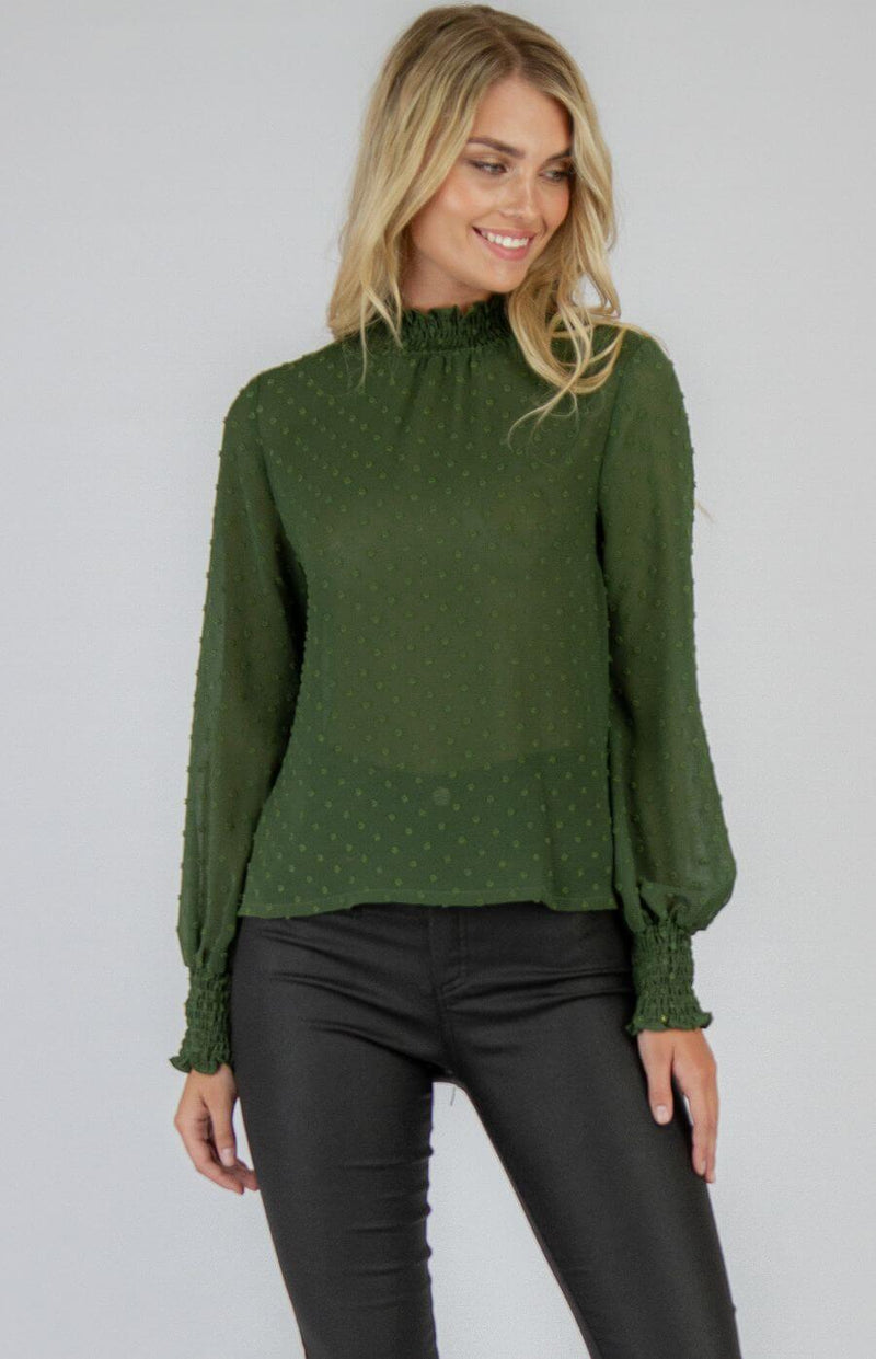 Kelsie High neck long sleeve top in Forest Green  Frangipani Living frangipani-living2.myshopify.com