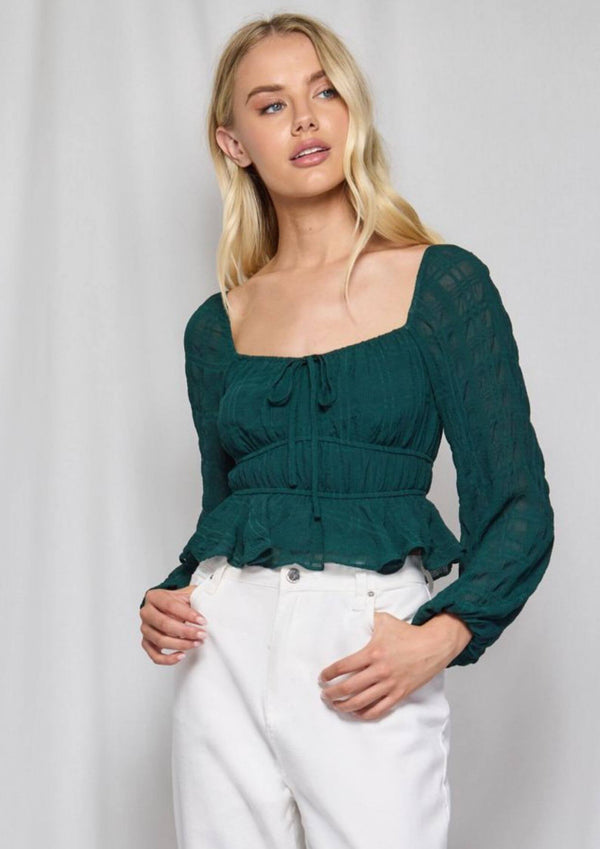 Kendal Long Sleeve Top in Emerald
