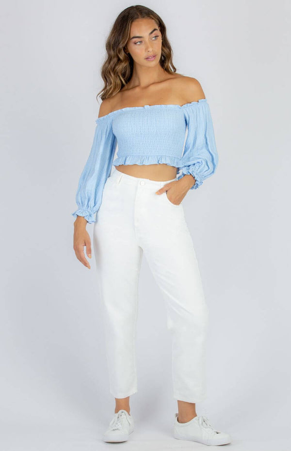 Kylie Off The Shoulder Shirred Top in Blue