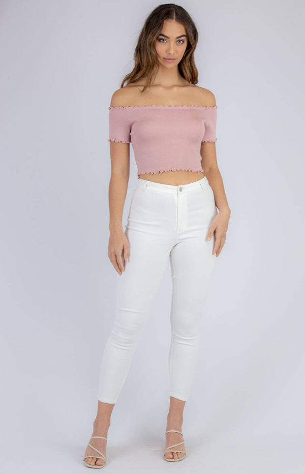 Leyla Off The Shoulder Top in Rose  Frangipani Living frangipani-living2.myshopify.com