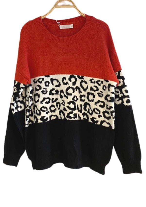 Liana Animal Print Colour Block Knit in Rust  Frangipani Living frangipani-living2.myshopify.com