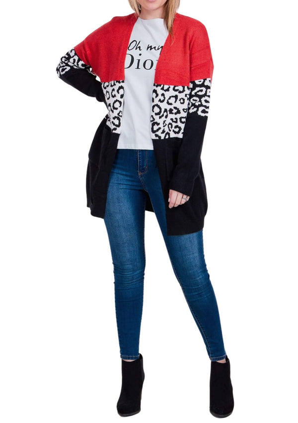 Liandra Animal Print Colour Block Cardigan in Rust  Frangipani Living frangipani-living2.myshopify.com