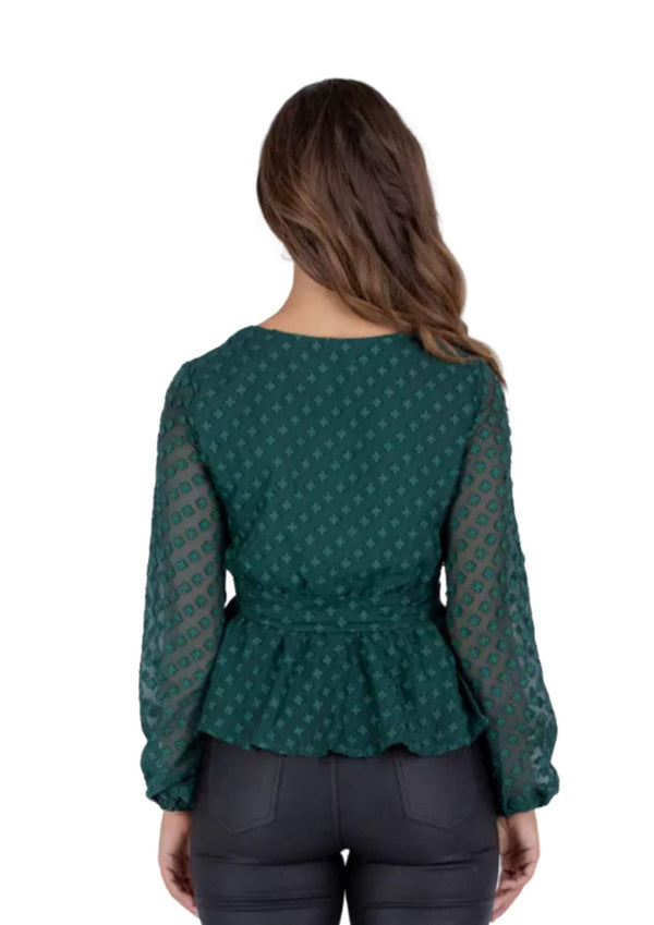 Macie Long Sleeve Top with belt in emerald  Frangipani Living frangipani-living2.myshopify.com