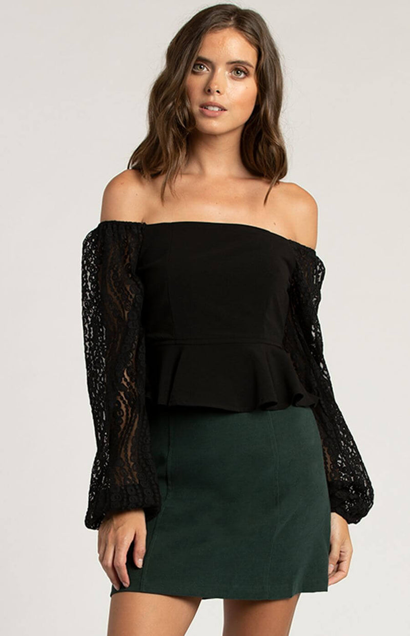 Milan Lace Sleeve top in Black  Frangipani Living frangipani-living2.myshopify.com