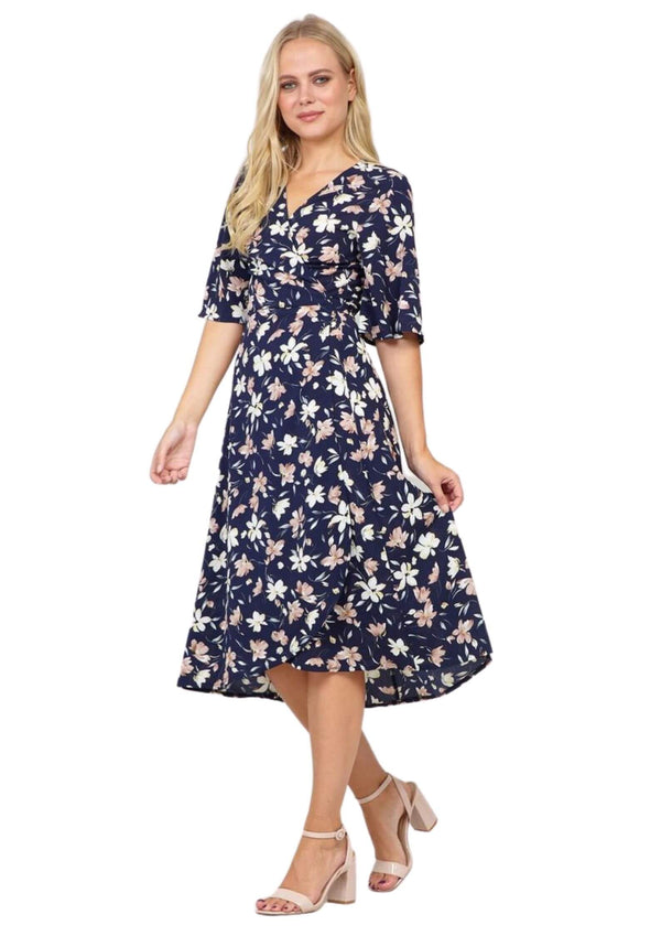 Montreal Midi Wrap Dress in Navy Floral Print